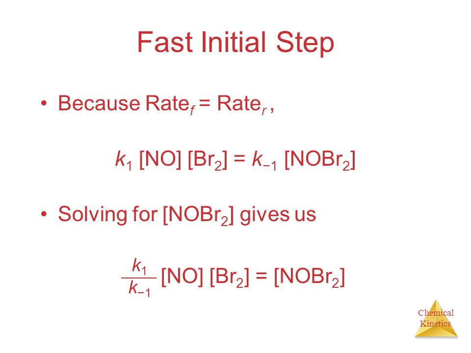 Fast Initial Step Because Ratef = Rater , k1 [NO] [Br2] = k−1 [NOBr2]